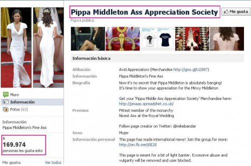 Kate Middleton, David Beckham - Pippa Middleton tiene un grupo de fans de su trasero en Facebook